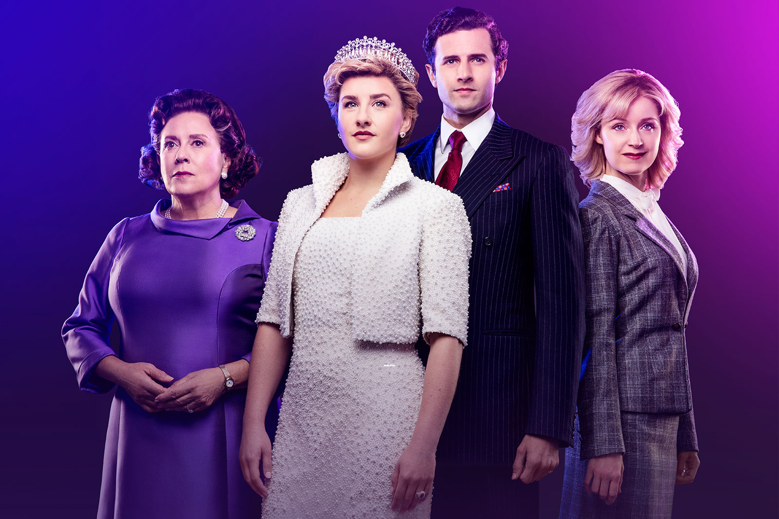 The actors playing the Queen, Diana, Charles and Camilla are all facing the camera are looking off into the distance. They are in expensive formal wear and in front of a purple backdrop. The actress playing Camilla is staring into the camera with a slight smile.